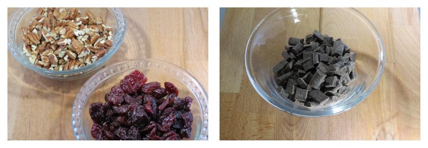 nuts, cherries, chocolate